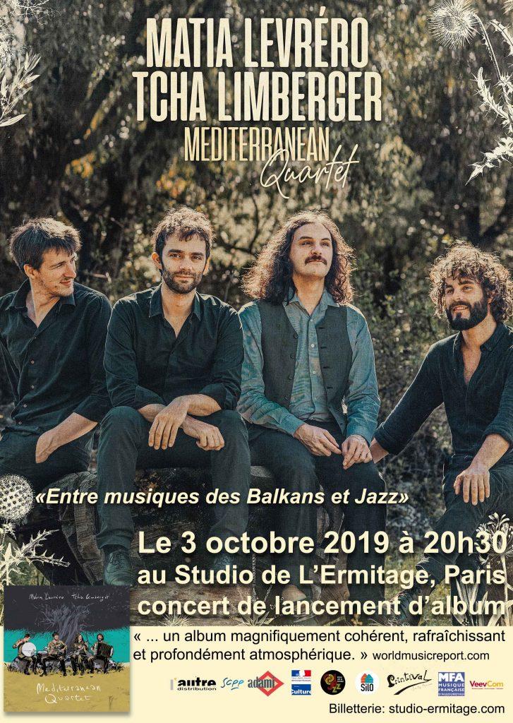 Matia Levréro Et Tcha Limberger avec le Mediterranean Quartet En concert a Paris le 3 octobre 2019 au Studio de l'Ermitage